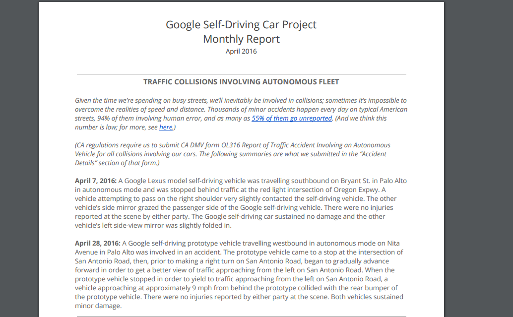 Cataloging Google's Self-Driving Car Accidents | Public